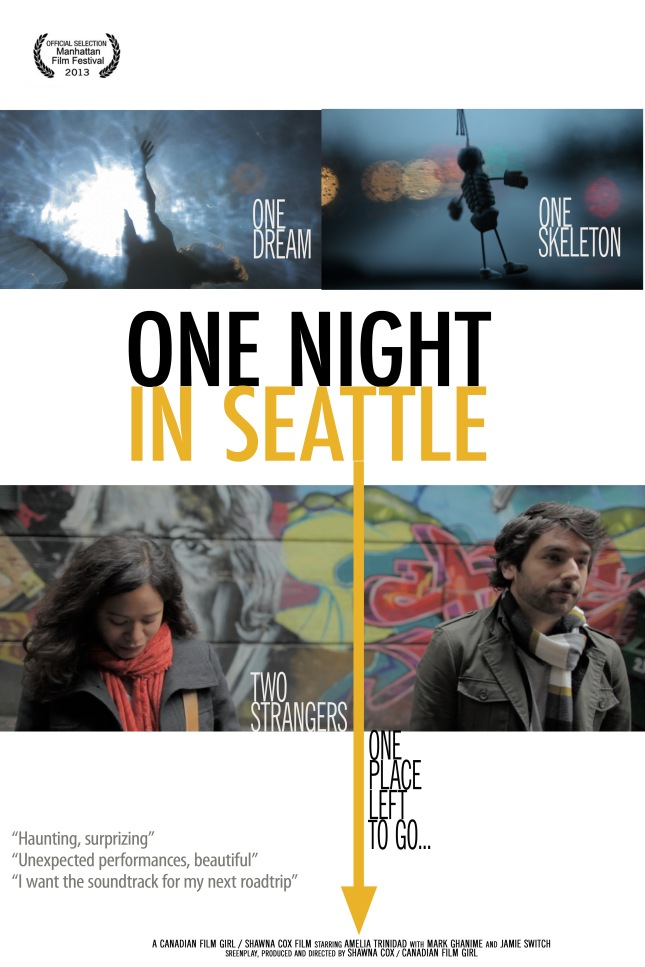 2013 Film Festival Poster, concept 3 for One Night in Seattle, the feature film.